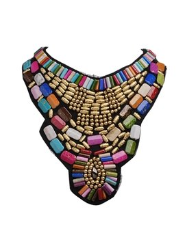 Women's Bohemian Geometric Beads Cloth Chain Necklace