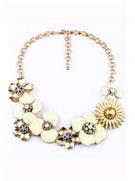 Women's Vogue Diamante Floral Statement Necklace