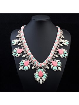 Women's Vintage Floral Beads Statement Necklace