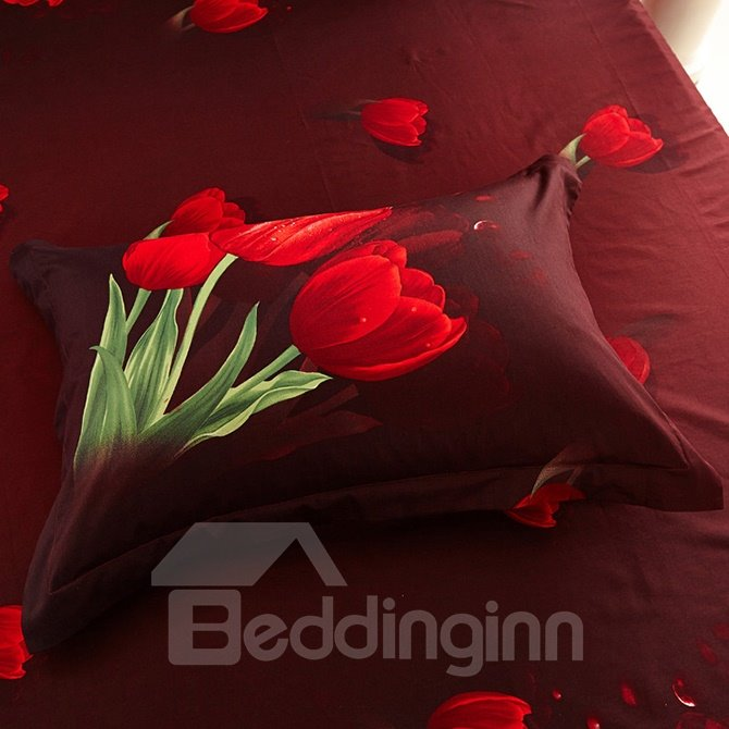Red Tulips Printing Cotton 4 Pieces Duvet Cover Sets