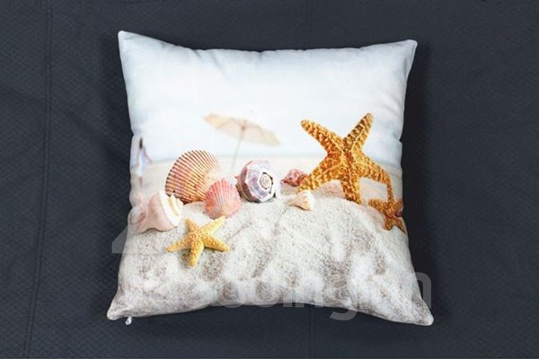 Shell and Starfish Printing White Plush Throw Pillow