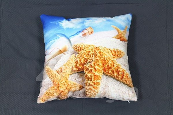 Starfish and Wishing Bottle Printing Plush Throw Pillow