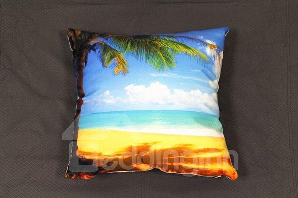 Coconut Tree and Beach Scenery Print Plush Throw Pillow