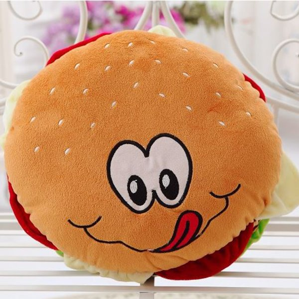 Cute Vivid Hamburger Shape Design Plush Throw Pillow
