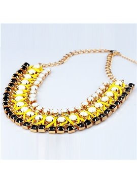 Women's Fluorescent Light Resin Statement Necklace