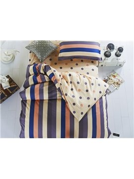 Dark Blue Stripes Pattern Cotton Kids 3-Piece Duvet Cover Sets