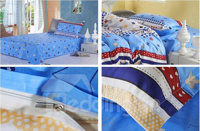 Coloful Tiny Stars Pattern Cotton Kids 3-Piece Duvet Cover Sets