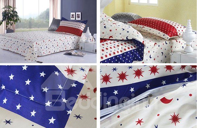 Cute Star and Moon Pattern Cotton Kids 3-Piece Duvet Cover Sets