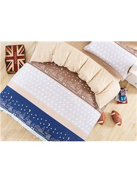 City Night Sky Pattern Cotton Kids 3-Piece Duvet Cover Sets