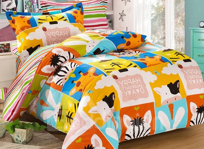 Cute&Funny Animals Pattern Cotton Kids 3-Piece Duvet Cover Sets