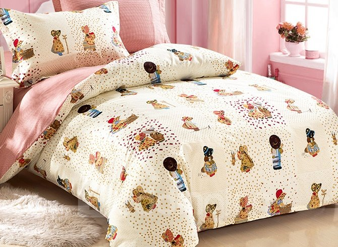 Pretty Angel Cute Girl and Boy Pattern Cotton Kids 3-Piece Duvet Cover Sets