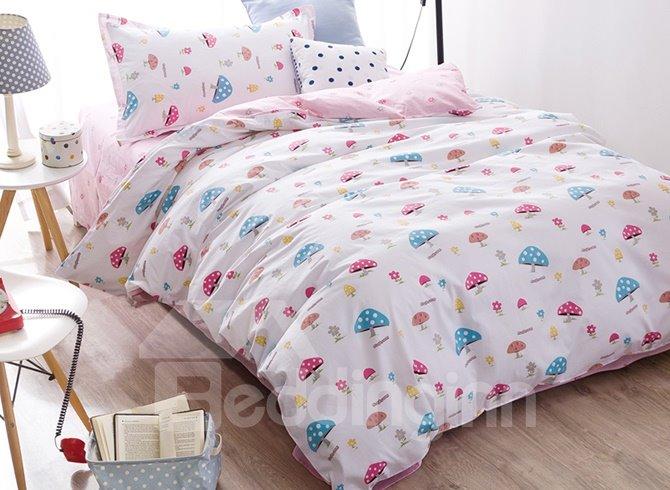 Super Cute Mushroom Pattern 3-Piece Purified Cotton Kids Duvet Cover Sets