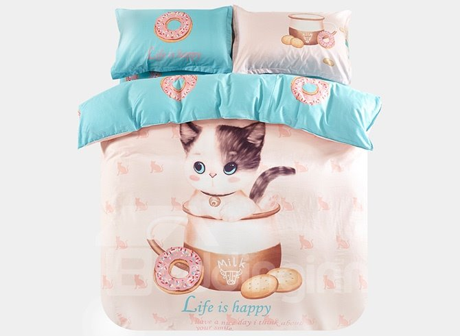 Super Cute Cat in The Milk Cup Print 3-Piece Purified Cotton Kids Duvet Cover Sets