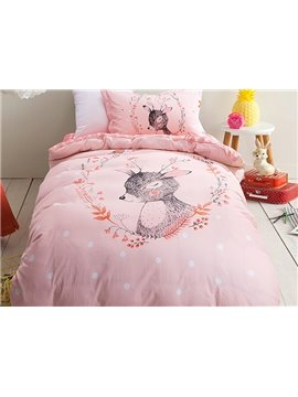 Elegant Deer Pattern 3-Piece Purified Cotton Kids Duvet Cover Sets