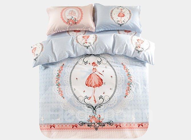 Little Princess Pattern 3-Piece Purified Cotton Kids Duvet Cover Sets