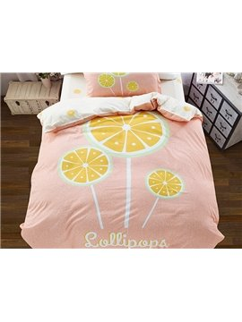 Lemon Lollipop Pattern 3-Piece Purified Cotton Kids Duvet Cover Sets