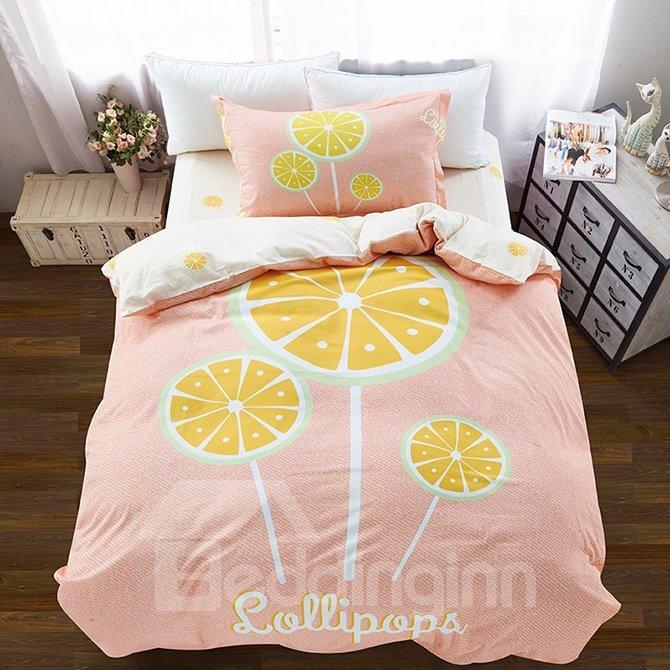 Lemon Lollipop Pattern 3-Piece Purified Cotton Kids Duvet Cover Sets