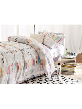Reading Theme Plaid Pattern 3-Piece Purified Cotton Kids Duvet Cover Sets