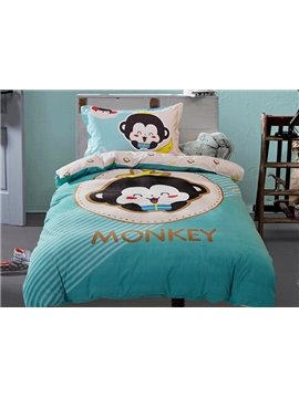 Monkey Baby Print 3-Piece Purified Cotton Kids Duvet Cover Sets