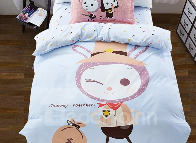 Cowboy Rabbit Pattern 3-Piece Purified Cotton Kids Duvet Cover Sets