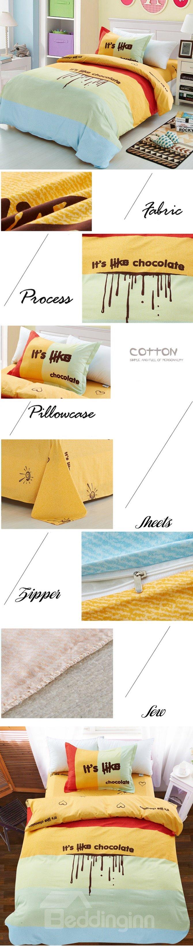 Love Chocolate Color Block 3-Piece Purified Cotton Kids Duvet Cover Sets