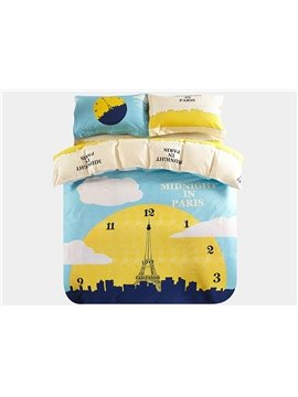 Midnight in Paris Print 3-Piece Purified Cotton Kids Duvet Cover Sets