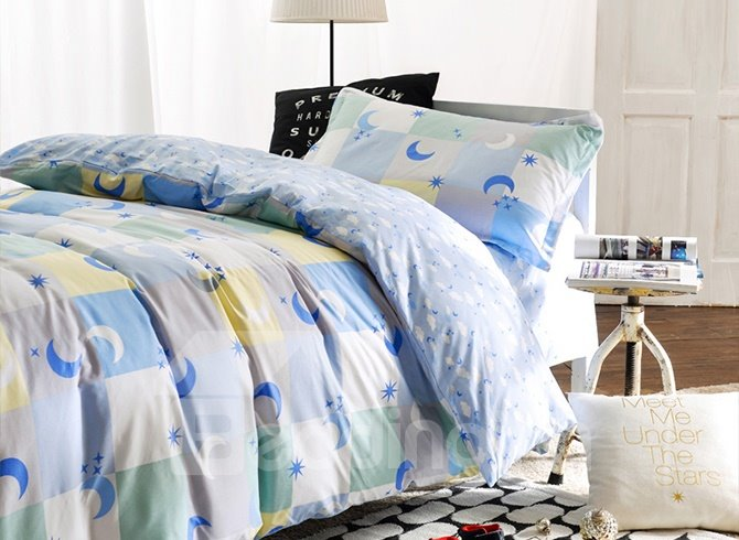 Color Block and Moon Pattern 3-Piece Purified Cotton Kids Duvet Cover Sets