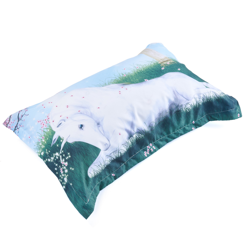 3D White Unicorn Crouching on Grass Printed 5-Piece Comforter Sets