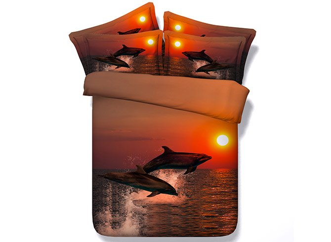 Jumping Dolphins at Sunset Printed Cotton 3D 4-Piece Bedding Sets/Duvet Covers