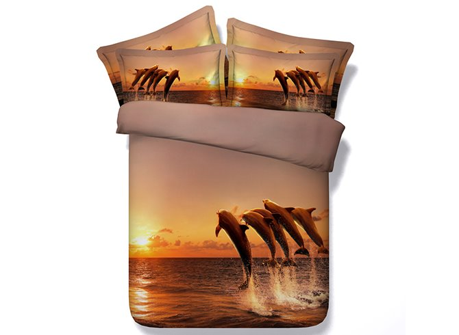 3D Jumping Dolphins in the Sunset Printed Cotton 4-Piece Bedding Sets/Duvet Covers