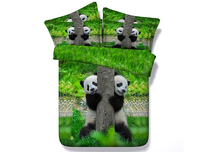 Pandas Climbing Tree Digital Printing 4-Piece Bedding Sets/Duvet Covers