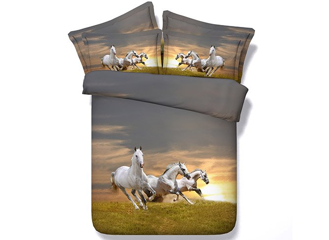 Three White Horses Running on Grass Printing 4-Piece Duvet Cover Sets