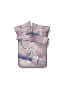 White Horse on Cloud Print 4-Piece Duvet Cover Sets