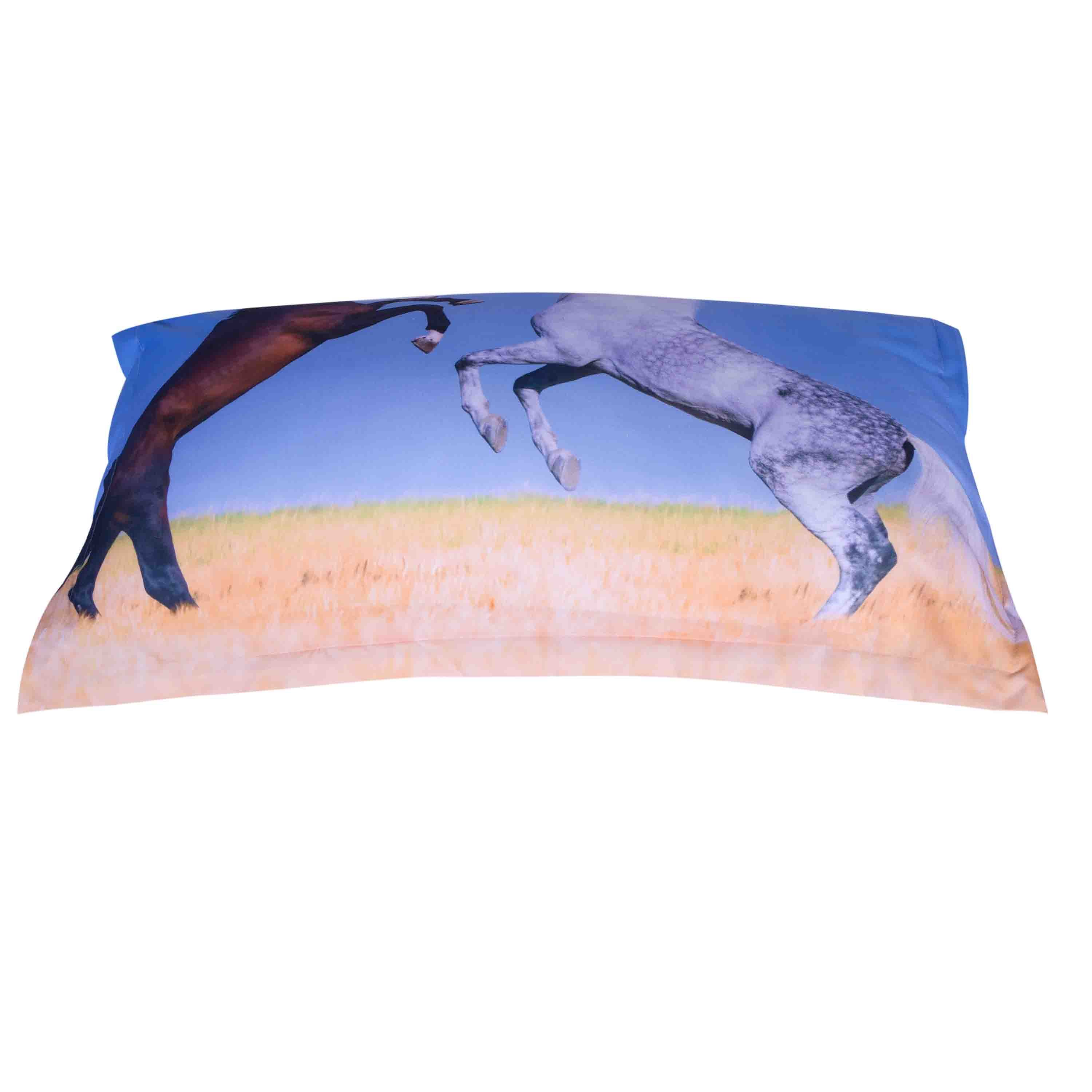 3D Rearing White and Brown Horses Printed Cotton 4-Piece Bedding Sets/Duvet Covers