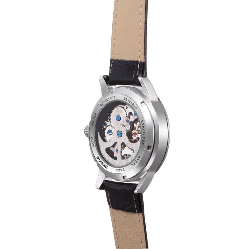 Mens Fashion Diamante Skeleton Automatic Self-Winding Big Dial Mechanical Watch