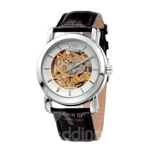 Mens Skeleton Automatic Self-Winding Leather Band Business Watch