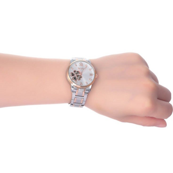 Womens Fashion Floral Skeleton Automatic Self-Winding Steel Band Watch