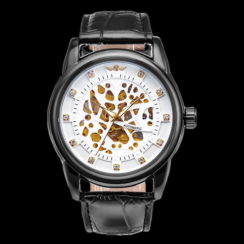 Skeleton Dial Leather Belt Luminous Waterproof Men' s Wrist Watch