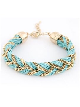 Women' s Fashion Candy Color Knitting PU Leather Bracelet
