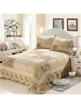 Elegant Floral Pastoral Green 3-Piece King Size Cotton Bed in a Bag