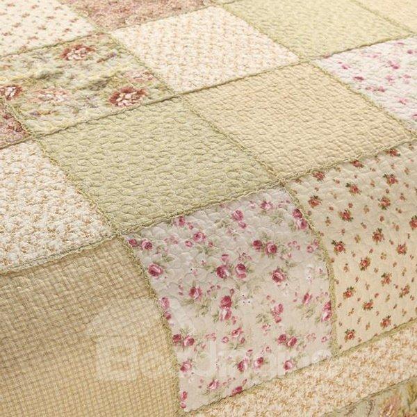 Elegant Floral Pastoral Green 3-Piece King Size Cotton Bed in a Bag