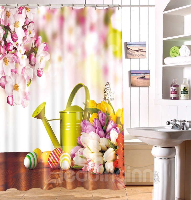 Gorgeous Fresh Style Lovely Flowers Pattern Shower Curtain