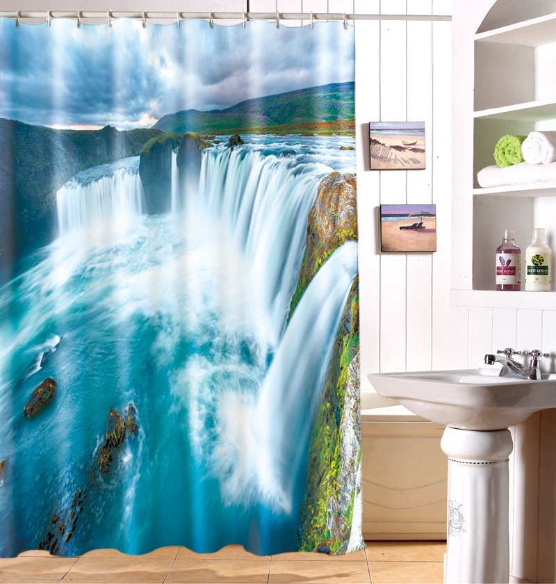 Beautiful 3D Vivid Waterfall Pattern Durable Waterproof Shower Curtain