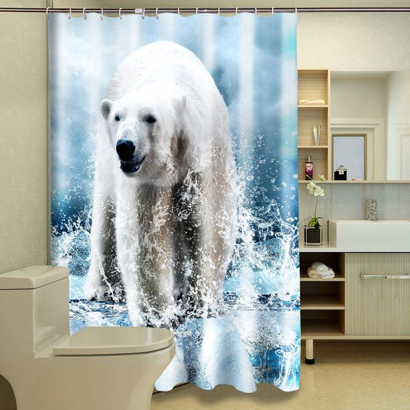 Fluffy Vivid 3D Polar Bear Polyester Fabric Shower Curtain