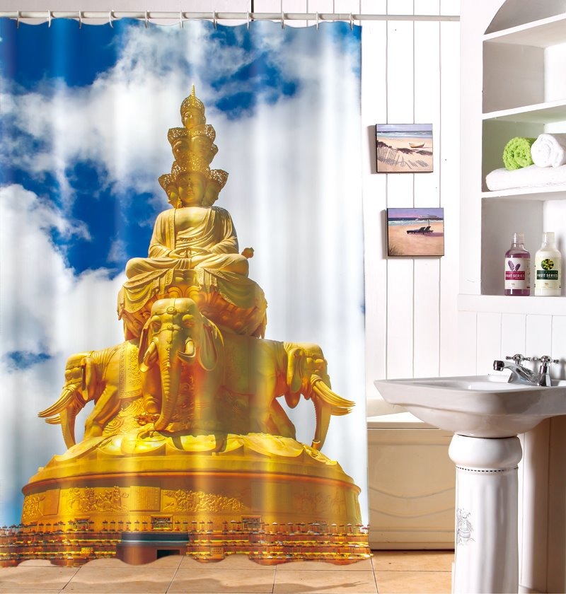 Stunning Traditional Joss Pattern Polyester Shower Curtain
