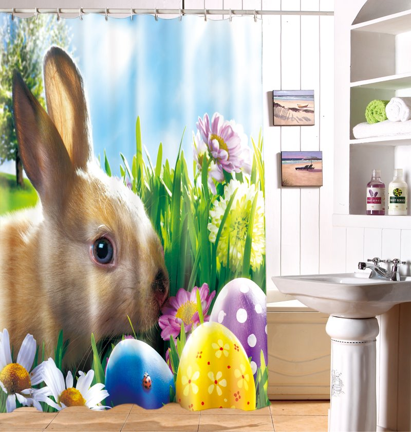 New Arrival Decorative Easter Bunny Shower Curtain