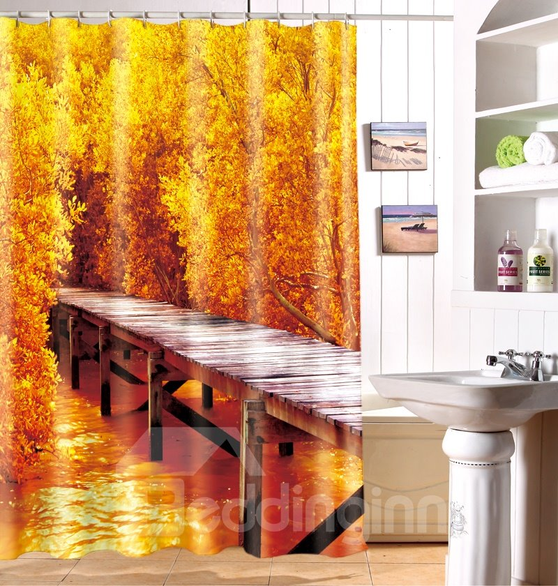 Dreamlike Fall Wooden Bridge Print Polyester Fabric 3D Shower Curtain