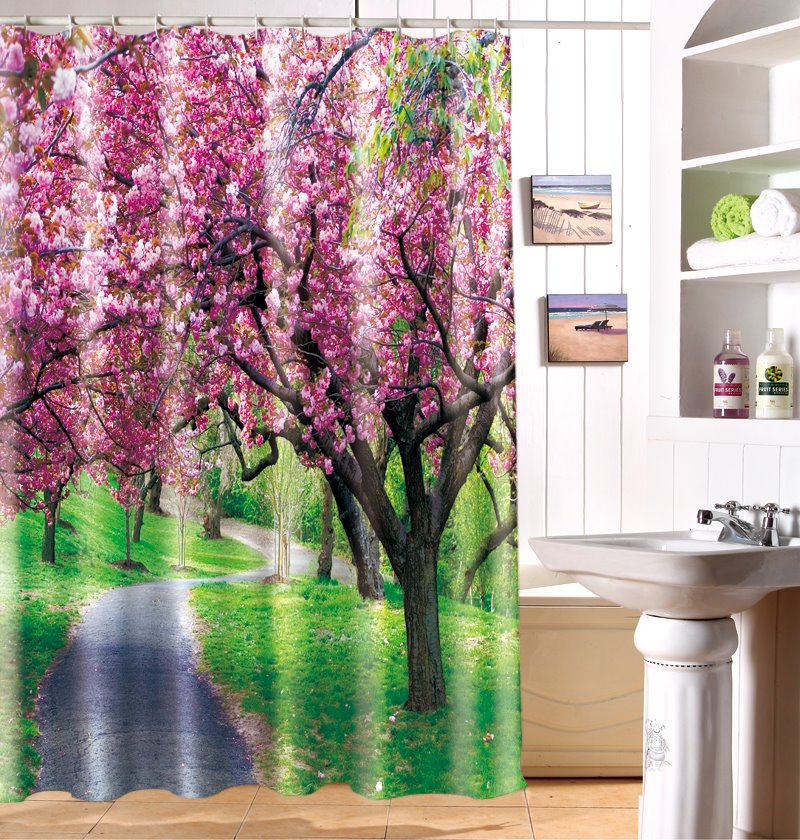 Unique Dreamy Spring Waterproof Polyester Fabric 3D Shower Curtain