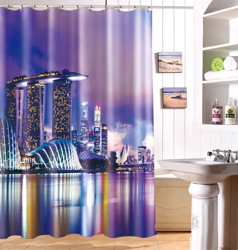 Chic Modern City Scene Dacron Fabric 3D Shower Curtain