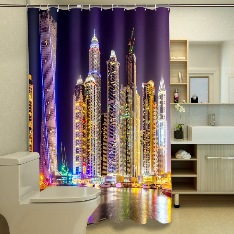 New Arrival Charming Cityscape City Night lights Dacron 3D Shower Curtain